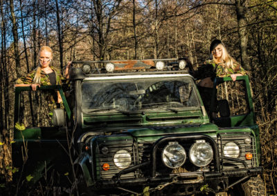 Girls and off-road vehicle